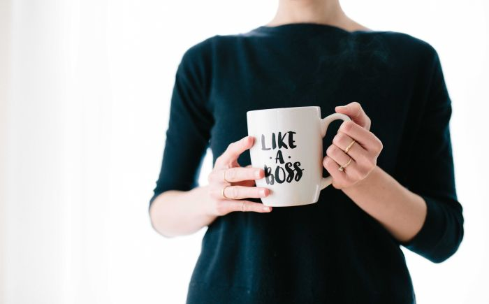 woman with like a boss cup