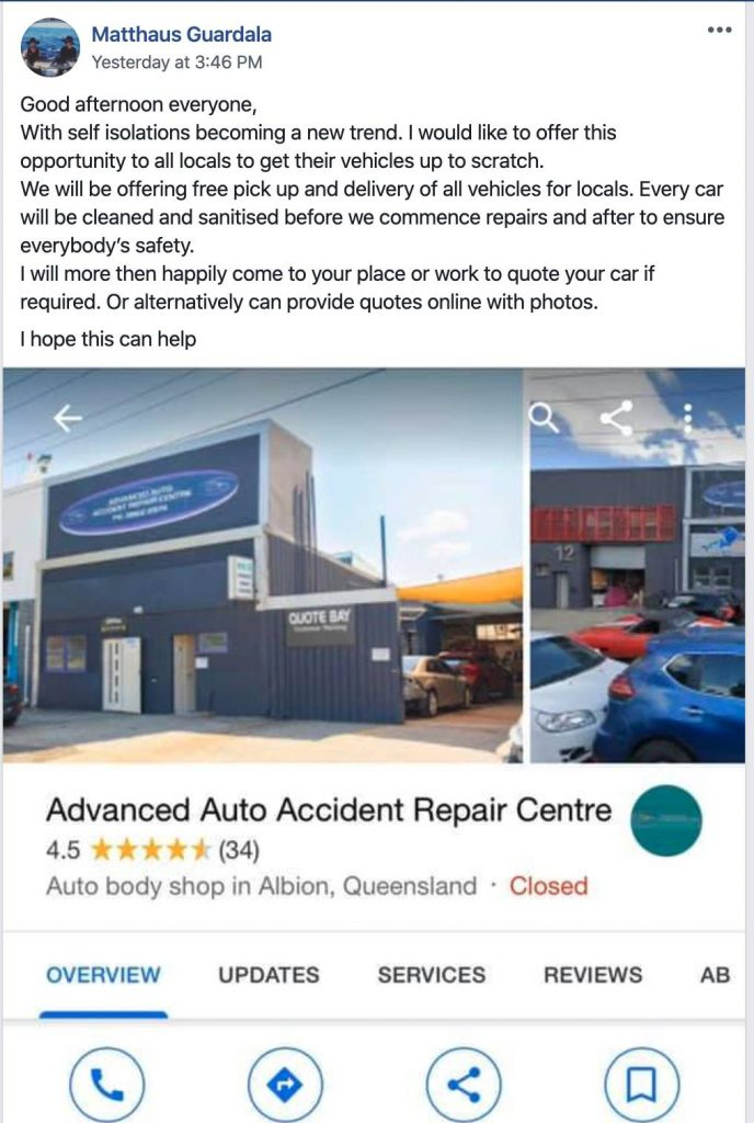 auto accident repair centre facebook post